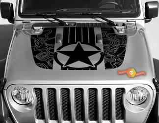 Jeep Gladiator JT Wrangler Military Star stripes Topographic Map JL JLU Hood style Vinyl decal sticker Graphics kit for 2018-2021