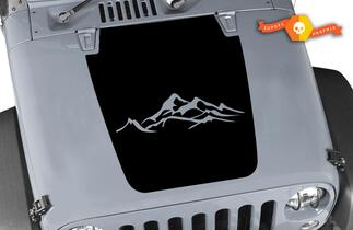 Jeep Decal Hood with Mountains Vinyl Any Colors Sticker JK LJ TJ 2007-2018