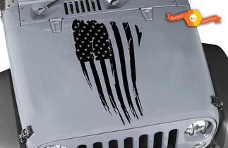 Jeep Hood American Flag Blackout Hood Vinyl Decal Distressed American Flag Any Colors Sticker JK LJ TJ 2007-2018