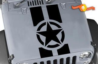 Jeep Hood Oscar Mike Militaire Star Strepen Jeep Black Out Hood 3 stuk Elk Kleuren Sticker JK LJ TJ 2007-2018