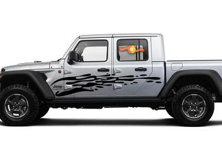 JEEP Gladiator Side JT Extra Grote Side Drip Style Vinyl Decal Sticker Graphics Kit voor 2018 - 2021
