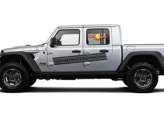 Jeep Gladiator Side JT Extra Large Side Tire Track Style Vinyl decal sticker Graphics kit for 2018-2021