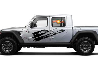 Jeep Gladiator SideExtra Large Side Splash Style Vinyl decal sticker Graphics kit for JT 2018-2021