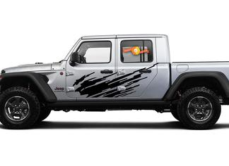 Jeep Gladiator Side Extra Large Side Splash unique Big Two Style Vinyl decal sticker Graphics kit for JT 2018-2021