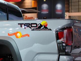 2x TRD Off Road Vintage Sunset Style 4x4 PRO Sport Off Road Side Vinyl Stickers Decal Toyota Tacoma Tundra FJ Cruiser