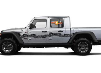 Jeep Gladiator Side JT Extra große gebogene Reifenspuren Style Vinyl Aufkleber Aufkleber Grafikkit für 2018-2021