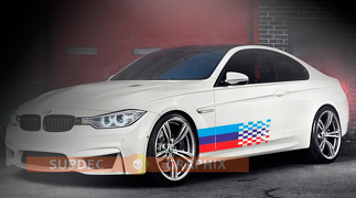 BMW fading tail Flag M colors for BMW any models vinyl decal sticker