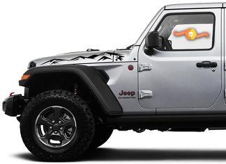 Paar Jeep Wrangler Gladiator JT JL JLU Rubicon Hood Mountains Vinyl Decal Grafische Kit voor 2018-2021 voor beide kanten