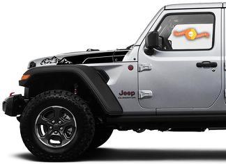 Paar Jeep Wrangler Gladiator JT JL JLU Rubicon Saucy Hood Bergen Vinyl Decal Grafische Kit voor 2018-2021 voor beide kanten