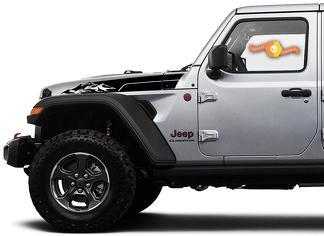 Paar Jeep Wrangler Gladiator JT JL JLU Rubicon Stijlvolle Saucy Hood Bergen Vinyl Decal Grafische Kit voor 2018-2021 voor beide kanten