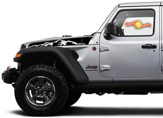 Jeep Wrangler Gladiator JT JL JLU Rubicon Saucy Hood Mountains Vinyl Decal Graphic kit for 2018-2021 for both sides