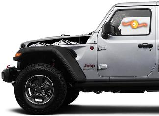 Jeep Wrangler Gladiator JT JL JLU Rubicon Stylish Saucy Hood Mountains Vinyl Decal Graphic kit for 2018-2021 for both sides