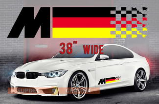 BMW German Flag M colors Flag for BMW any models vinyl decal sticker 2 pcs M4 M5 M6 M2 M340i 440i