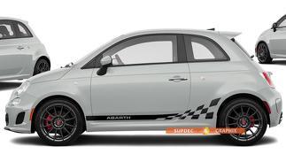 Fiat 500 Abarth Logo Geruite vlag Decal Side Graphics Stripes