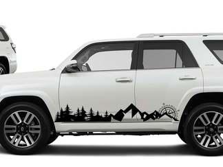 Side Mountains Bäume und Kompass Reise Vinyl Aufkleber Aufkleber passen zu Toyota 4Runner 16-18 passen zu TRD