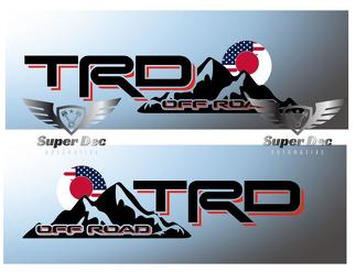 TRD Off Road US vs Japan Flag Style decal sticker fit Tacoma Tundra FJ Cruiser 4Runner