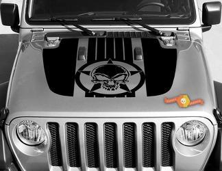 Jeep Gladiator JT Wrangler Schädel Sternstreifen JL JLU Vinyl Aufkleber Aufkleber Grafik Kit für 2018-2021