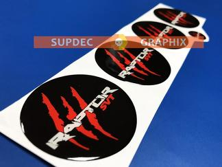 4 Wheel Center Caps Raptor SVT Red scratch marks Domed Badge Emblem Resin Decal Sticker