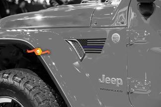 Paar Jeep Wrangler 2018 Jlu Jeep Fender USA Flag Blue Line 2PC Vinyl Decal Grafische Kit voor 2018-2021