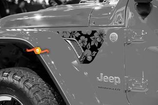 Paar Jeep Wrangler 2018 Jlu Jeep Fender Flowers Line 2PC Vinyl Decal Grafische Kit voor 2018-2021