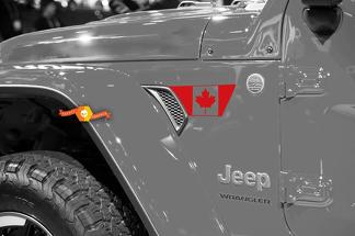 Pair of Jeep Wrangler 2018 JLU Jeep Fender jl fender vent canadian Flag Vinyl Decal Graphic kit for 2018-2021