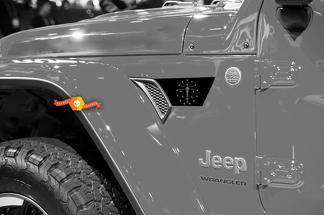 Paar Jeep Wrangler 2018 JLU Jeep Fender jl Kotflügel entlüften Indiana Flag Vinyl Decal Grafik-Kit für 2018-2021