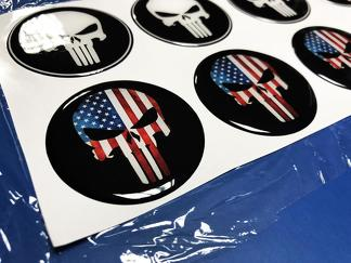Wheels Center Caps Punisher USA Domed Badge Emblem Resin Decal Sticker