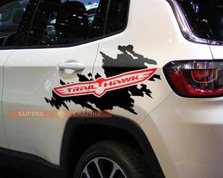 Pair of Trail Hawk Jeep Renegade Compass bed side decals stickers 2 colors