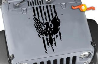 Jeep Wrangler Distressed American Flag w Eagle Blackout Hood Vinyl Decal
