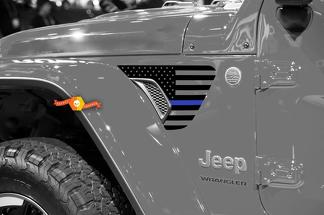 Pair of Jeep Wrangler 2018 JLU Jeep Fender USA Flag Blue Line Vinyl Decal Graphic for 2018-2021