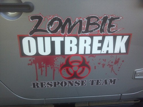 Jeep Rubicon Wrangler Zombie Outbreak  Response Team Skull Wrangler Decal-door