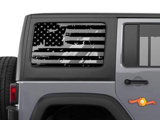 Jeep Wrangler JK & JL Distressed Tattered American Flag Window Hardtop Set Vinyl Decal 2007-2019