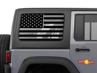 Jeep Wrangler JK & JL American Flag Window Hardtop Set Vinyl Decal 2007-2019