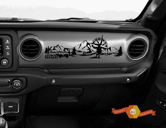 Jeep JL JLU Gladiator Wrangler Dashboard Mountain 1941 Willys with Compass Scene Vinyl Decal