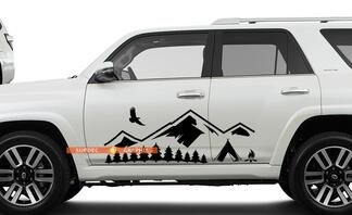 Side Door Mountains Trees and Camp travel Vinyl Sticker Decal fit to Toyota TRD PRO Tacoma 4Runner Tundra