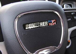 One Steering Wheel Punisher Challenger Charger emblem domed decal