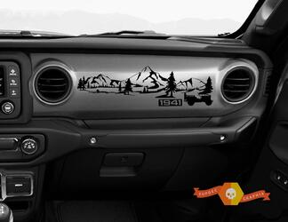 Jeep JT Rubicon Gladiator Dashboard Mountain 1941 Willys with Forest Scene Vinyl Decal