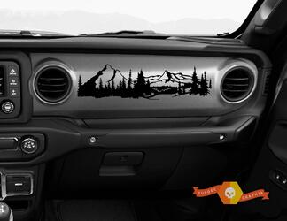 Jeep JT Rubicon Gladiator Dashboard mountains pine trees 1941 Willys with Scene Vinyl Decal