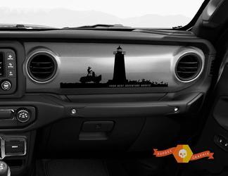Jeep JT Rubicon Gladiator Dashboard Je volgende avontuur wacht op vuurtoren Willys met scène vinylsticker