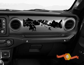 Jeep JT Rubicon Gladiator Dashboard Jljlujt Snowboarder Mountain Scene Vinyl Decal
