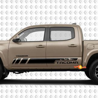 Pair Mountains Stripes for Tacoma Side Rocker Panel Vinyl Stickers Decal fit to Toyota Tacoma TRD Off Road Pro Sport