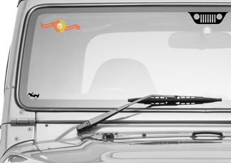 Jeep Windshield Center Grill with Willys Corner Crawler Easter Egg Vinyl Decals