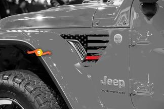 Jeep Wrangler JL JLU Gladiator Thin Red Line Distressed American Flag Fender Vent Vinyl Decal for 2018-2021
