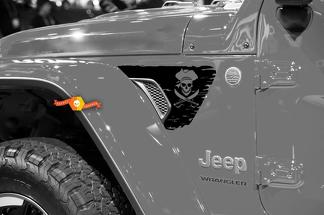 Jeep Wrangler JL JLU JT Jolly Roger Pirate Flag V1 Fender Vent Decal for 2018-2021
