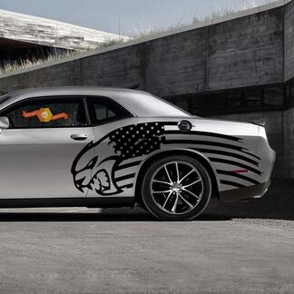 Hellcat US USA Flag Theme Side Decal Sticker for Both Sides Dodge Chalenger Charger