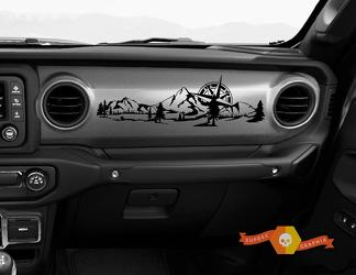 Jeep JT Rubicon Gladiator Dashboard JLJLUJT Mountain compass forestSnowboarder Mountain Scene Vinyl Decal