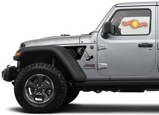 2 Side Jeep Wrangler JL JLU Gladiator Rubicon Trail Skydiver Fender Vent Vinyl Decal voor 2018-2021