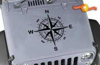 Jeep WRANGLER Rubicon Nautische Kompasshaube Vinyl Aufkleber Vinyl Grafik Vinyl Aufkleber