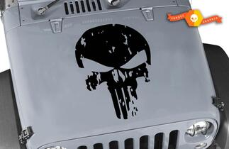 Hood Decal for Jeep Wrangler Distressed Punisher Skull Vinyl Blackout Decal