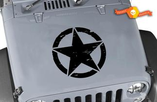 Distressed Oscar Mike Military Star Jeep Hood Vinyl Decal
